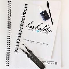 Eyelash extension training manuals.