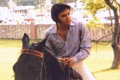Elvis horseback riding at Graceland in Memphis, TN. .....happy days!