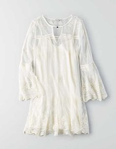 AEO Lace Bell Sleeve Dress, White | American Eagle Outfitters