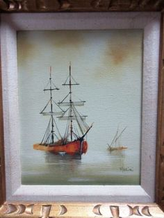 Vintage-Oil-Painting-Signed-034-Martini-034-Clipper-Ships-at-Sea-Ocean-Framed