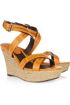 Burberry Leather espadrille wedge sandals NET-A-PORTER.COM