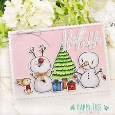 Keiko Ichikawa (@happy_tree_studio) • Instagram photos and videos Last Christmas, Merry Christmas Card, Christmas Greeting Cards, Christmas Greetings, Divas, Neat And Tangled, Honey Bee Stamps, Bee Cards, Christmas Paper Crafts