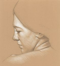 Preparatory Sketch for a Painting of Leah 3B pencil and white Prismacolor pencil…