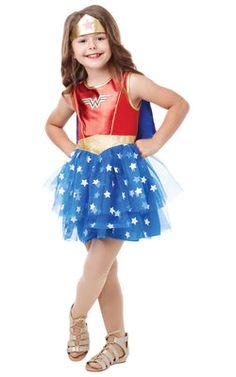 Dc Comics Girls Wonder Woman Costume in One Colour Girl Costumes, Costumes For Women, Superhero And Villain Costumes, Disfraz Wonder Woman, Blue And Gold Dress, Dc Comics Girls, Fancy Dress For Kids, Wonder Woman Logo, Cape Dress