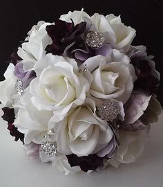 Plum and Lavender Wedding Bouquet-Brooch Bouquet-Purple and White Bridal Bouquet With Groom's Boutonniere #weddingbouquets