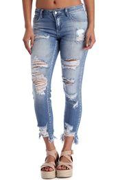 Denim Mid Rise Destructed Jeans