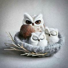 Beautiful I love it. .!!   Credit : @world_of_owlcraft -  @theladymoth -  OWL NEST - needle felted sculpture. . For info about promoting your owl art or crafts send me a direct message @owl.gifts or email owl-gifts@outlook.com  . Follow @owl.gifts for beautiful and inspiring owl images and videos every day! . #owl #owls