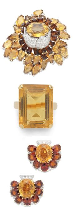 Cartier - An Art Deco citrine and diamond brooch and ear clip suite, circa 1935. The brooch designed as a flower in bloom, the central oval-cut citrine within unfurling petals of pavé-set old brilliant and single-cut diamonds and pear-shaped citrines, with baguette-cut citrines of darker hue and single-cut diamond detail, the ear clips of similar design, accompanied by a ring set with a single step-cut citrine, brooch signed Cartier London, one ear clip signed Cartier London, ring numbered.