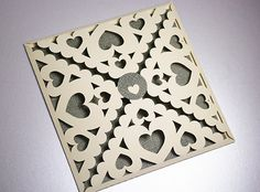 10 Envelopes Decorative, Hearts, Paper Lace, for Wedding, Valintines Day or other Cards, Papercut by MamaTita