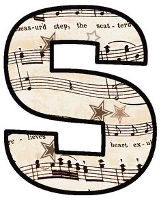 ArtbyJean - Vintage Sheet Music: Set 003 - Vintage Sheet Music Free Clipart Biege Tan - Alphabet Set