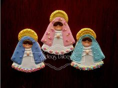 Religious Cookies~                          By Ideos Dulces, pink, green, blue