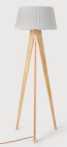 The Miller Floor Lamp in Natural Wood and Orange. Designed with a tripod base and an orange exposed cable.