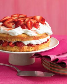 Strawberry Cream Cake: Cake, cream, and berries combine in a treat that's twice as delectable as the sum of its parts. The buttery cake soaks up the strawberry juices, while the whipped cream adds an airy richness.