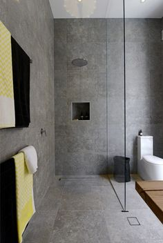 "The Block: Bathrooms - Brad Dale. Love the tiles - Beaumont Tiles ""Excellence Grey""."