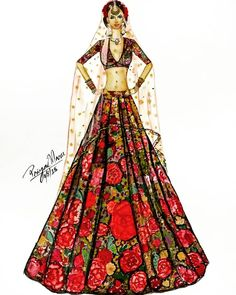 The 'DIL-GULDASTA' lehenga BY @sabyasachiofficial . . . . . . . .… Fashion Illustration Tutorial, Dress Illustration, Fashion Illustration Dresses, Fashion Illustrations, Dress Design Sketches, Fashion Design Drawings, Fashion Model Sketch, Fashion Sketches, Fashion Drawing Dresses