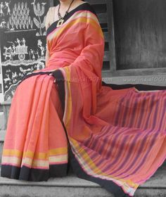 Fine & Light Handloom Woven Mangalgiri Cotton in lovely Contemporary colors. Has Silk & Cotton thread, silver and gold zari weaving in. Handloom Saree, Silk Sarees, Cotton Saree, Office Wear, Indian Sarees, Dress Collection, Indian Fashion, Blouse Designs, Vogue