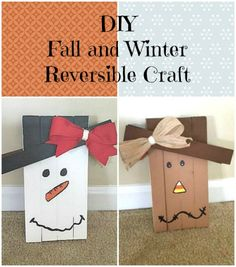 I'm probably the last to realize this but did you know you can make multi-seasonal crafts by making them reversible? Check out this fall and winter reversible craft I just made!  DIY Fall and Winter Reversible Craft