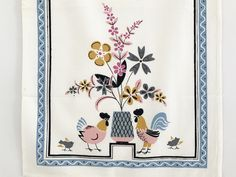 Love this design! Dish Towel Rooster Chicken and Chicks - Mid Century Eames by NeatoKeen on Etsy