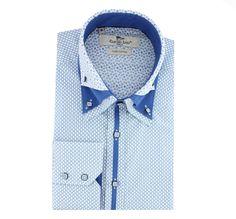 CP5937 Blue Mens High Collar Shirts, Men Shirts, Polo Shirts, Shirt Types, Types Of Shirts, Suspenders, New Outfits, Long Sleeve Shirts, Shirt Designs