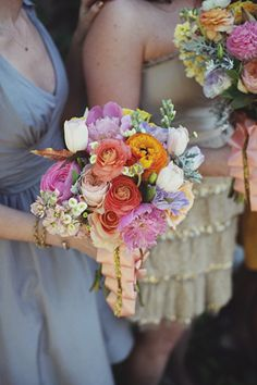 gorgeous bridesmaid bouquet with ranunculus