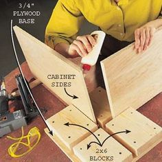 ❧ DIY Tip of the Day: Cabinet Assembly Station. Here's a third hand that will ensure square, no-hassle cabinet assemblies. Cut four 7-in. long 2x6s and screw or nail them to a plywood base, leaving exactly square crisscross channels just wide enough for the cabinet parts to fit in snugly. When you assemble the cabinet, the station will keep the parts vertical and aligned while you apply glue or pound in nails.