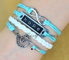 Infinitymusical note & Hope Charm Bracelet in Silver by RosyDreams, $4.99