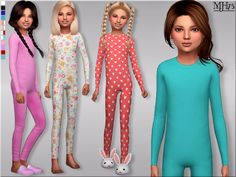 -It's getting a bit chilly here where I live so its time to get warm! I made these onesie's for child female sims :) Enjoy! Found in TSR Category 'sims 4 Female Child Everyday' Toddler Fashion, Toddler Outfits, Kids Outfits, Sims 4 Cc Kids Clothing, Children Clothing, Clothing Sets, Sims 4 Children, Sims 4 Dresses, Sims4 Clothes