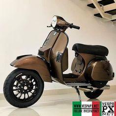 Bronze Brown Vespa PX custom modified with Vespa Sprint 12 velg wheels @ Vespa P200e, Vespa Px 150, Piaggio Vespa, Vespa Scooters, European Motorcycles, Honda Motorcycles, Vespa Italy, Custom Vespa, Vespa Sprint