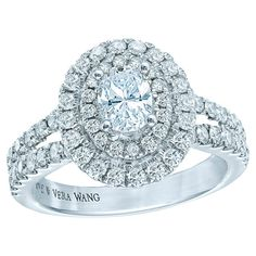 Oval diamond ring in 14k white gold by Vera Wang Love