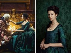 Claire's emerald gown. A gorgeous, dramatic gown for an equally dramatic scene. The French king is also well-dressed in a stunning rose-colored suit.