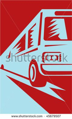 vector illustration of a coach bus coming up towards the viewer #bus #woodcut #illustration