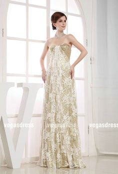 Custom made sweetheart gold sequin lace ivory lace by vegasdress, $149.59