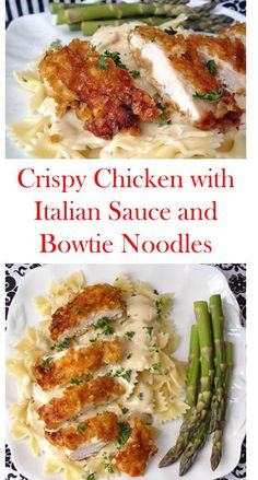 Crispy Chicken with Italian Sauce and Bowtie Noodles CrispyChicken ItalianSauce BowtieNoodles CrispyChickenwithItalianSauceandBowtieNoodles 355854808058884367 Italian Recipes, New Recipes, Dinner Recipes, Cooking Recipes, Healthy Recipes, Simple Food Recipes, Different Chicken Recipes, Dinner Ideas, I Love Food