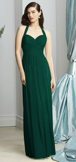 Dessy 2932 - hunter green - Style 2932 is a full length lux chiffon bridesmaid dress. It features a halter neckline with open back, draped bodice and slightly shirred skirt. Style 2932 comes in sizes 00-30W with an option for extra length.