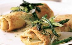 Cheese Matzo Blintzes with Asparagus and Dill