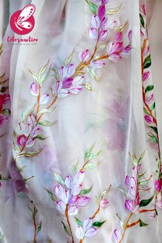 Shop Baby Pink Hand-painted Silk Chiffon Saree - Sarees Online in India Saree Painting, Dress Painting, Silk Painting, Chiffon Saree, Silk Chiffon, Silk Dress, Floral Print Sarees, Saree Floral, Fabric Colour Painting