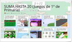 """""""17 Juegos para la práctica de LA SUMA HASTA 20 en 1º de Primaria"""" Grand Prix, Sumo, Map, Maths Area, Teaching Resources, Learning, Games, Words, Location Map"""