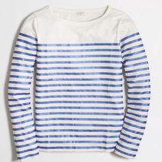 New Item J. Crew Metallic-Striped T-Shirt Color: Metallic Marine.                                                     Slub cotton. Machine wash.                                                                     Factory Brand J. Crew Tops