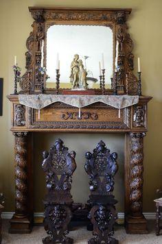 Cherubim Stone Carved Fireplace mantel surround Marble Artisan ...