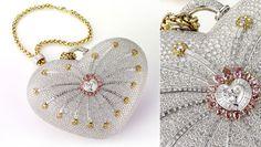 '1001 Nights Diamond Purse' de la joyería Mouawad de Dubai, Hecho en oro de 18 quilates y 4.517 diamantes incrustados, 105 diamantes amarillos, 56 rosados y 4.356 blancos
