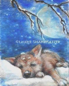 Wolf Cub Art children Nursery, baby animal, wildlife Cotton paper or canvas print 'Sleepy Wolf Cub on a Pillow of Snow' Laurie Shanholtzer