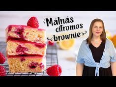 (6) Málnás citromos brownie - YouTube Cereal, Cheesecake, The Creator, Breakfast, Desserts, Food, Youtube, Morning Coffee, Tailgate Desserts