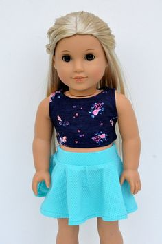 American Girl Doll Clothes Navy Floral Crop Top with Turquoise Skater Skirt by CircleCSewing