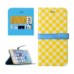 [USD7.55] [EUR6.75] [GBP5.41] Baseus Plaid Texture Leather Case with Holder and Card Slots for iPhone 6 & 6S(Yellow)