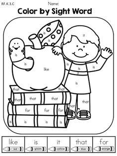 Roll and Color: Back-to-School Color by Sight Word - Part of the Back to School Kindergarten Language Arts Worksheets Language Arts Worksheets, Kindergarten Language Arts, Art Worksheets, Kindergarten Worksheets, Back To School Worksheets, Coloring Worksheets, Kindergarten Prep, Printable Coloring, Printable Art