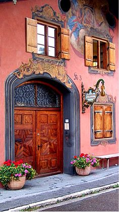 Painted wall, faux window, decorated door...
