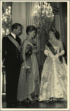 Van links naar rechts: prins Albert van België met zijn vrouw prinses Paolo en prinses Beatrix