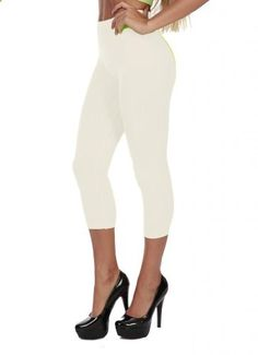 Hollywood Star Fashion Women's Plain Stretch Capri Crop Leggings One Size White  Go to the website to read more description.