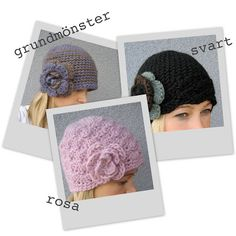 In Swedish. Knitted Hats, Crochet Hats, Textiles, Crochet Clothes, Crochet Projects, Diy And Crafts, Winter Hats, Crochet Patterns, Bunny