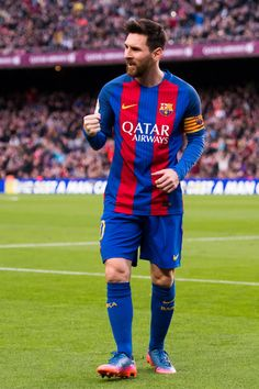 Lionel Messi (R) of FC Barcelona celebrates after scoring his team's second goal during the La Liga match between FC Barcelona and Athletic Club at Camp Nou  stadium on February 4, 2017 in Barcelona, Catalonia.